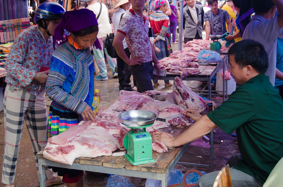 Meat market in Bac Ha Vietnam