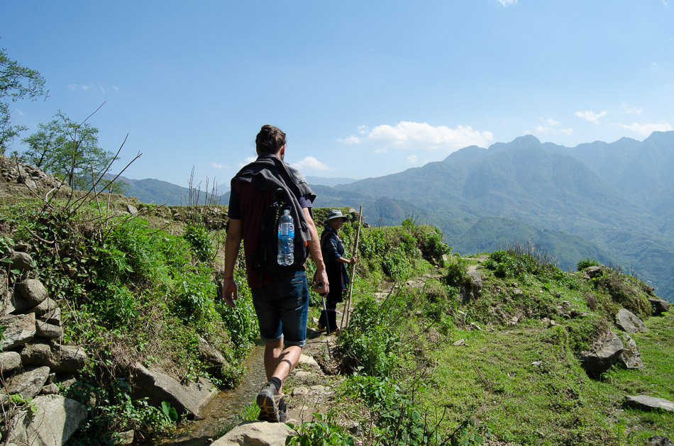 Mario trekking the mountain in Sapa