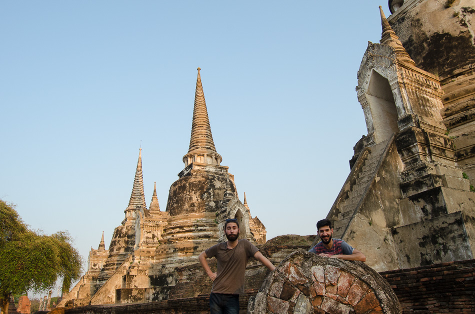 Nuno and Mario at Phra Si Sanphet in Ayutthaya