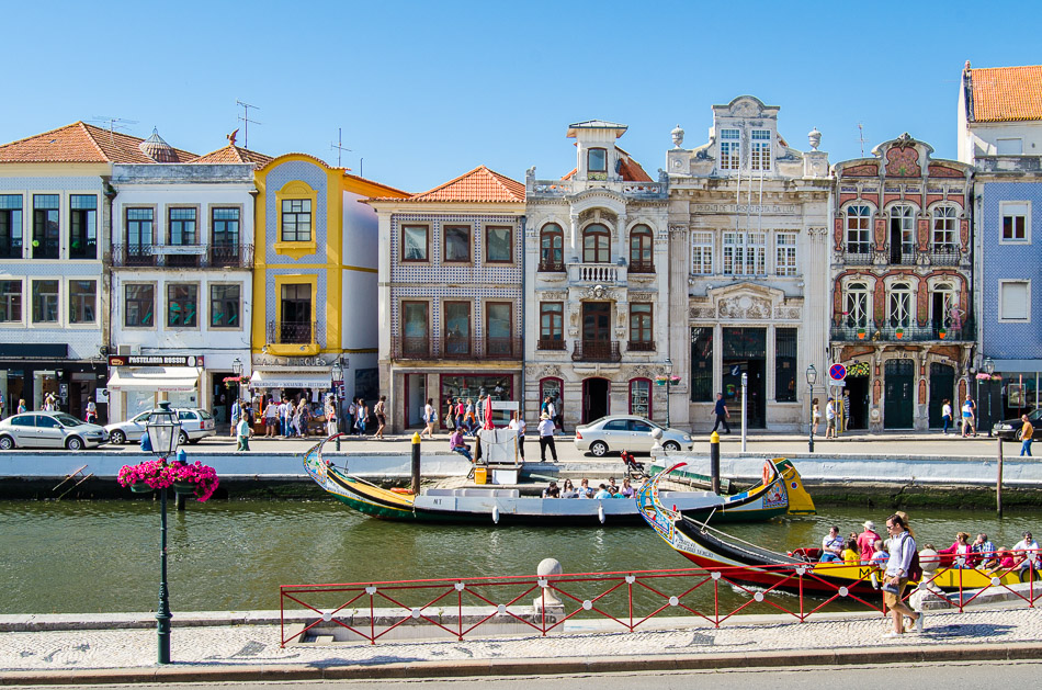 Aveiro city center with art nouveau buildings